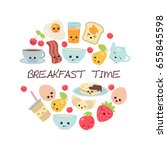 vector breakfast concept with... | Shutterstock .eps vector #655845598