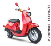 Red Classic Scooter Isolated O...