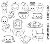 breakfast food and beverages ... | Shutterstock .eps vector #655849564