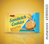 sandwich cookie package design  ... | Shutterstock .eps vector #655850323