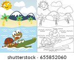 turtle and crocodile playing in ... | Shutterstock .eps vector #655852060
