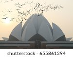 birds flying on lotus temple at ... | Shutterstock . vector #655861294