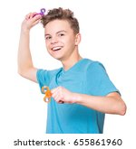 young teen boy holding popular...   Shutterstock . vector #655861960