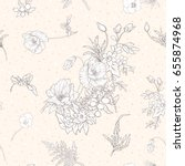 seamless pattern with poppy... | Shutterstock .eps vector #655874968