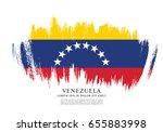 flag of venezuela  brush stroke ... | Shutterstock .eps vector #655883998