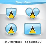 glossy saint lucia flag icon... | Shutterstock .eps vector #655885630