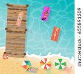 young women in bikini sunbathe... | Shutterstock .eps vector #655891309