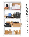 white metal rack with boxes and ... | Shutterstock . vector #655896328