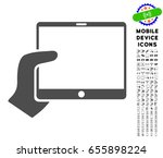 hand holds tablet icon with...   Shutterstock .eps vector #655898224