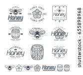 set of honey labels  badges and ... | Shutterstock .eps vector #655898968