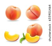 ripe peach fruit with leaf... | Shutterstock .eps vector #655901464