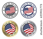 vector set of made in the usa... | Shutterstock .eps vector #655901773