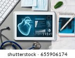 white tablet pc and doctor... | Shutterstock . vector #655906174