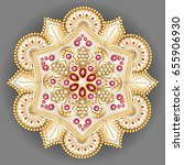 mandala brooch jewelry  design... | Shutterstock .eps vector #655906930