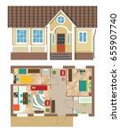 small cottage. facade and plan... | Shutterstock .eps vector #655907740