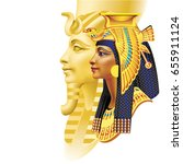 Egyptian Pharaoh And Queen On...