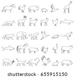 one line animals set  logos.... | Shutterstock .eps vector #655915150