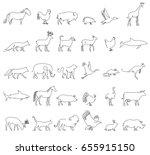 one line animals set  logos.... | Shutterstock .eps vector #655915150