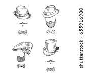 set of hats and beards. hand...   Shutterstock .eps vector #655916980