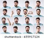 emotions faces set of young... | Shutterstock . vector #655917124