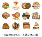 delivery pizza logo badge... | Shutterstock .eps vector #655925320