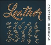 realistic leather font set ... | Shutterstock .eps vector #655925710