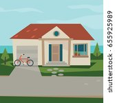 house icon background  flat ... | Shutterstock .eps vector #655925989