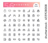 set of 56 wedding line icons... | Shutterstock .eps vector #655928008
