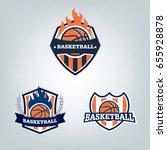 basketball sport logo design... | Shutterstock .eps vector #655928878