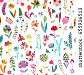 floral seamless pattern  sketch ... | Shutterstock .eps vector #655936513