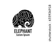 ornate elephant design | Shutterstock .eps vector #655936918
