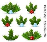 Mistletoe Icon Set Isolated On...