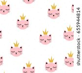 Stock vector cute little cat princess seamless pattern vector hand drawn illustration 655944814