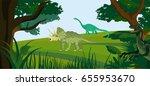 landscape of prehistoric age of ... | Shutterstock .eps vector #655953670