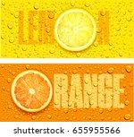 lemon and orange juice... | Shutterstock .eps vector #655955566