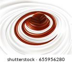 milk cream swirl with chocolate ... | Shutterstock .eps vector #655956280