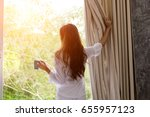 wake up  woman in the morning... | Shutterstock . vector #655957123