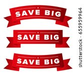 save big red ribbon set | Shutterstock .eps vector #655959964