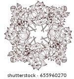 free hand lotus flower  vector... | Shutterstock .eps vector #655960270