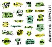 set of food badges. allergens ... | Shutterstock .eps vector #655963684