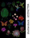 custom tropic flower design.... | Shutterstock .eps vector #655967704