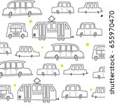 pattern with cute graphic cars  ... | Shutterstock .eps vector #655970470