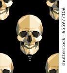 modern gold polygonal flat... | Shutterstock .eps vector #655977106