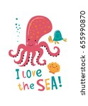 i love the sea.  funny card... | Shutterstock .eps vector #655990870