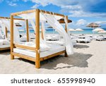 view of some beds in a beach... | Shutterstock . vector #655998940