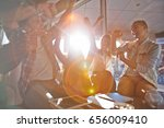 cheerful students having small... | Shutterstock . vector #656009410