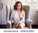 beautiful sexy redhair woman in ... | Shutterstock . vector #656011003