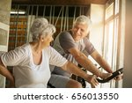 two senior people workout in... | Shutterstock . vector #656013550