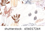berries on roughly scribbled... | Shutterstock .eps vector #656017264