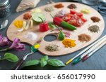 food palette with fresh herbs... | Shutterstock . vector #656017990